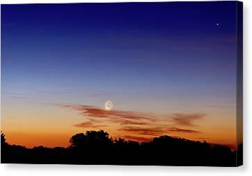Crescent Moon And Jupiter Canvas Print