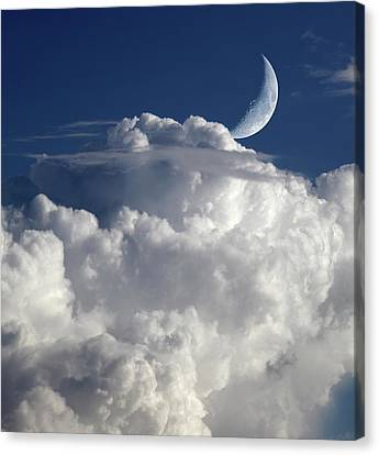 Crescent Moon In Cloudy Sky Canvas Print