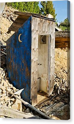 Canvas Print featuring the photograph Crescent Moon Outhouse by Sue Smith