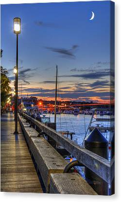 Crescent Moon Over Newburyport Harbor Canvas Print by Joann Vitali