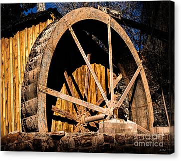 Old Building And Water Wheel Canvas Print by Jon Burch Photography