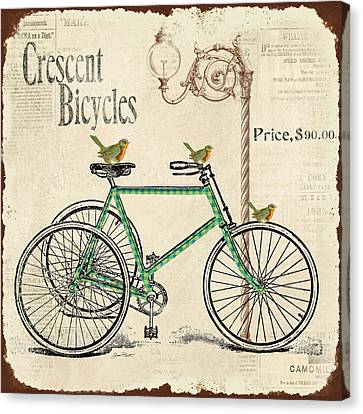 Lamp Post Canvas Print - Cresent Bicycles by Jean Plout