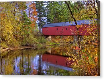 Cresson Covered Bridge 3 Canvas Print by Joann Vitali