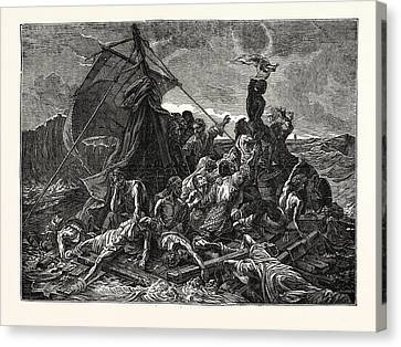 Crew Of The Medusa On The Raft Canvas Print by English School