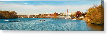 Crew Teams In Their Sculls Canvas Print by Panoramic Images
