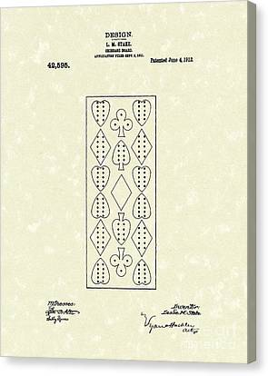Board Canvas Print - Cribbage Board 1912 Patent Art by Prior Art Design