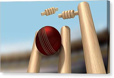 Cricket Ball Hitting Wickets Canvas Print