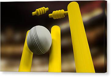 Cricket Ball Hitting Wickets Night Canvas Print by Allan Swart