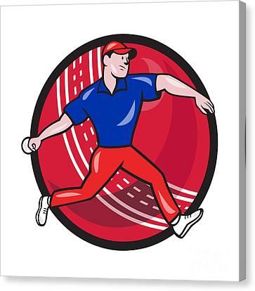 Cricket Bowler Bowling Ball Cartoon Canvas Print by Aloysius Patrimonio