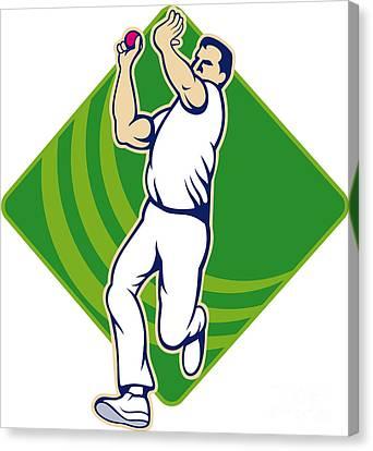 Cricket Bowler Bowling Ball Front Canvas Print by Aloysius Patrimonio