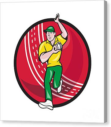 Cricket Fast Bowler Bowling Ball Front Cartoon Canvas Print by Aloysius Patrimonio