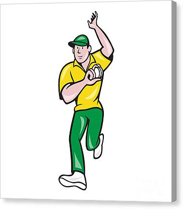 Cricket Fast Bowler Bowling Ball Front Isolated Canvas Print by Aloysius Patrimonio
