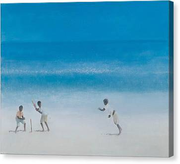 Cricket On The Beach, 2012 Acrylic On Canvas Canvas Print by Lincoln Seligman