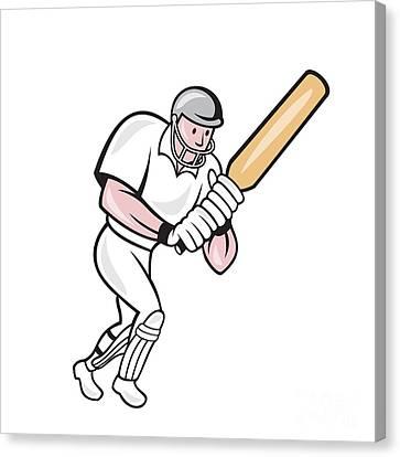 Cricket Player Batsman Batting Cartoon Canvas Print by Aloysius Patrimonio