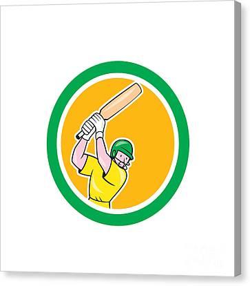 Cricket Player Batsman Batting Circle Cartoon Canvas Print