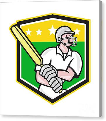 Cricket Player Batsman Batting Shield Star Canvas Print