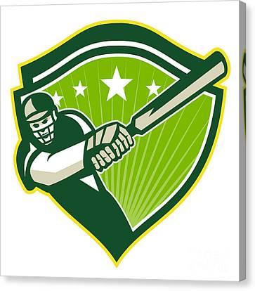 Cricket Player Batsman Star Crest Retro Canvas Print by Aloysius Patrimonio