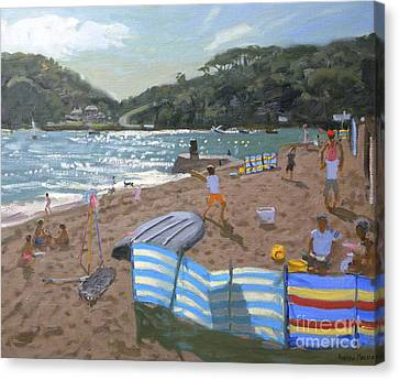 Windbreaker Canvas Print - Cricket Teignmouth by Andrew Macara
