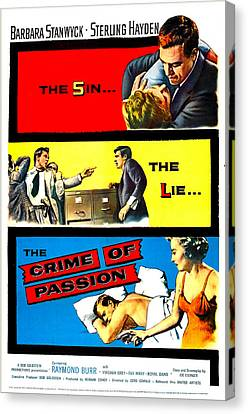 1950s Poster Art Canvas Print - Crime Of Passion, Us Poster Art, Top by Everett