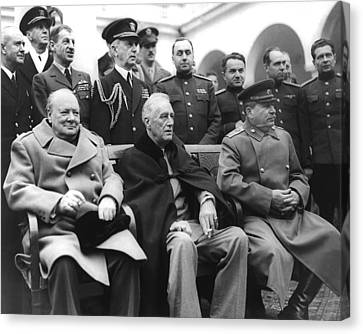Crimean Conference In Yalta Canvas Print by Underwood Archives