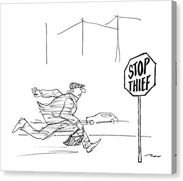 Stop Sign Canvas Print - Criminal Runs Past Stop Sign Reading Stop Thief by Al Ross