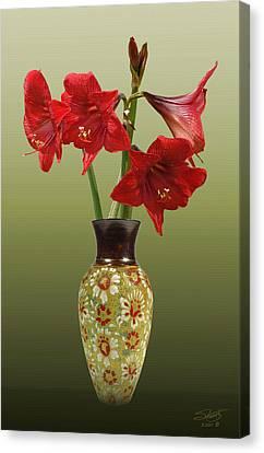 Crimson Lilies Canvas Print - Crimson Amaryllis In Tall Vase by IM Spadecaller
