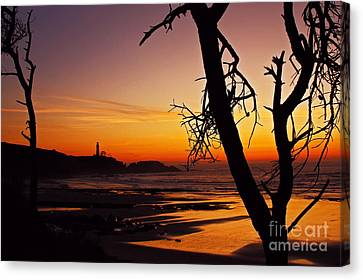 Crimson Dusk At Yaquina Head Sixty Five Canvas Print