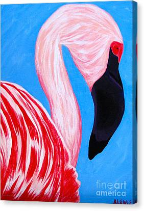 Crimson Flamingo Canvas Print by Anita Lewis