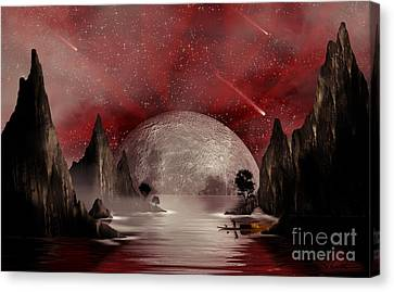 Canvas Print featuring the digital art Crimson Night by Anthony Citro