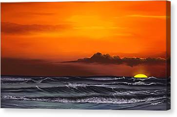 Canvas Print featuring the drawing Crimson Sunset by Anthony Fishburne