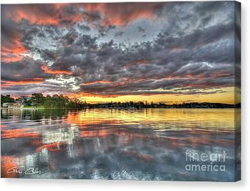 Crimson Sunset Over Cockle Bay Canvas Print by Geoff Childs