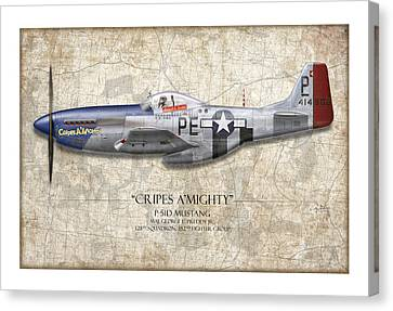 Profile Canvas Print - Cripes A Mighty P-51 Mustang - Map Background by Craig Tinder
