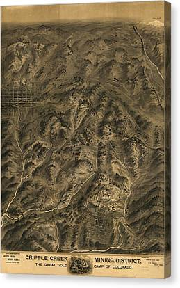 Antique Map - Cripple Creek Mining District Birdseye Map - 1895 Canvas Print by Eric Glaser