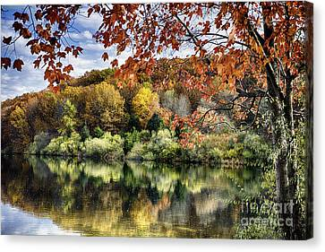 Reflections Of Nature Canvas Print - Crisp Autumn Day In New Jersey by George Oze