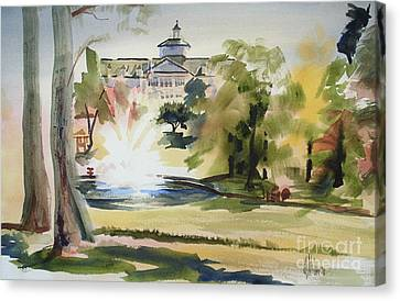 Crisp Water Fountain At The Baptist Home  Canvas Print by Kip DeVore