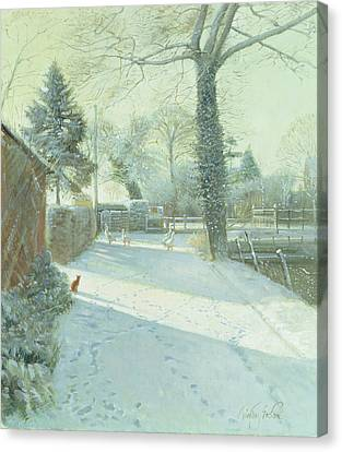 Criss-cross Oil On Canvas Canvas Print by Timothy Easton