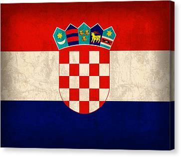 Croatia Flag Vintage Distressed Finish Canvas Print by Design Turnpike