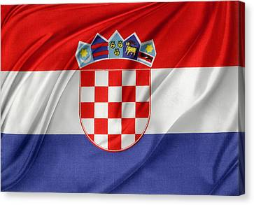Croatian Flag Canvas Print by Les Cunliffe