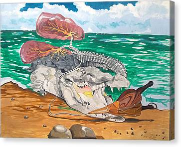 Canvas Print featuring the painting Crocodile Emphysema by Lazaro Hurtado