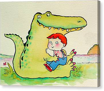 Crocodile Hug, Or Best Friends Pen & Ink And Wc On Paper Canvas Print by Maylee Christie