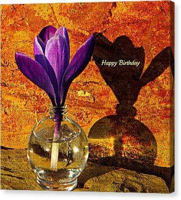 Crocus Floral Birthday Card Canvas Print by Chris Berry