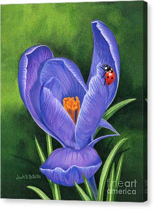 Crocus And Ladybug Canvas Print by Sarah Batalka