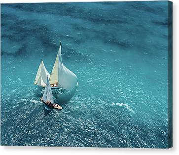 Croisement Bleu Canvas Print by Marc Pelissier