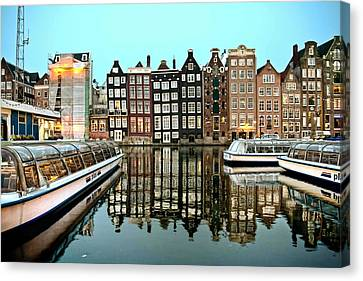 Canvas Print featuring the photograph Crooked Houses On The Canal by Brent Durken
