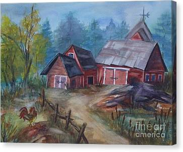 Crooked Red Barn Canvas Print by Ellen Levinson
