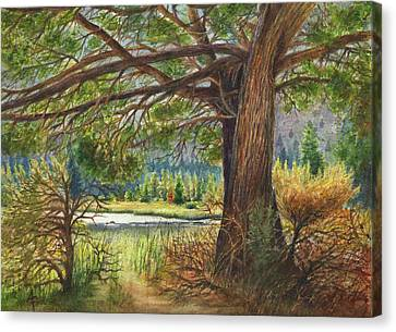 Canvas Print featuring the painting Crooked River Shade by Arthur Fix