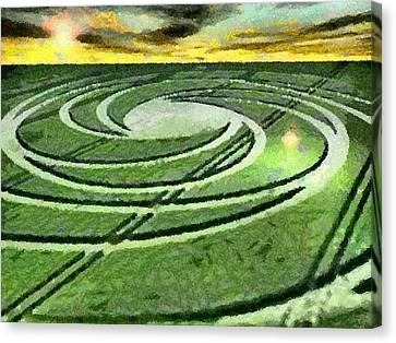 Crop Circles In Field Canvas Print