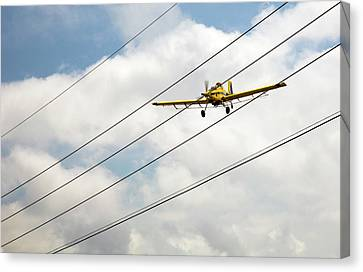 Crop Duster And Electricity Power Lines Canvas Print