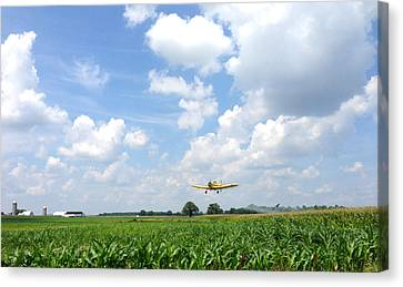 Canvas Print featuring the photograph Yellow Crop Duster by Charles Kraus