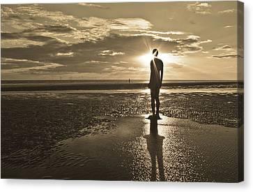 Crosby Beach Sepia Sunset Canvas Print by Paul Madden
